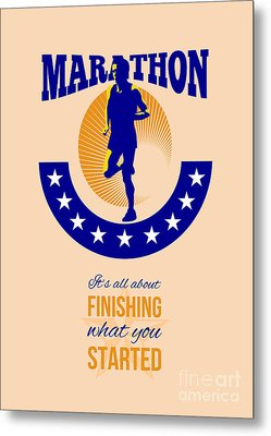 Marathon Runner Finishing Retro Poster Metal Print by Aloysius Patrimonio