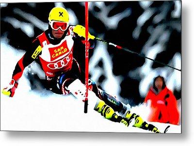 Marcel Hirscher Skiing Metal Print by Lanjee Chee