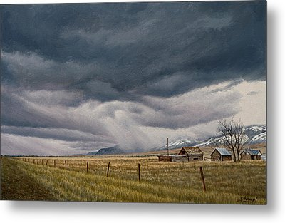 March Sky-montana Metal Print by Paul Krapf