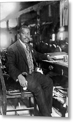 Marcus Garvey At His Desk Metal Print by Underwood Archives