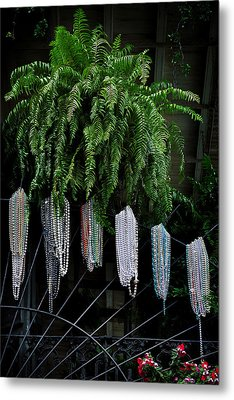Mardi Gras Beads New Orleans Metal Print by Christine Till
