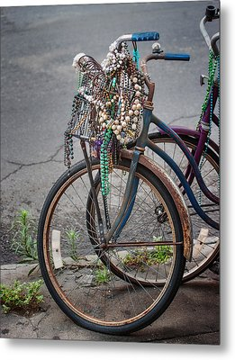 Mardi Gras Bicycle Metal Print by Brenda Bryant