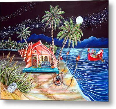 Margaritaville Conch Christmas Metal Print by Abigail White