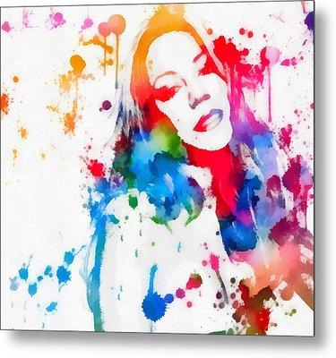Mariah Carey Watercolor Paint Splatter Metal Print by Dan Sproul