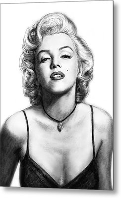 Marilyn Monroe Art Drawing Sketch Portrait Metal Print by Kim Wang