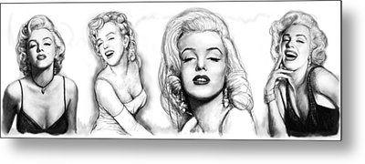Marilyn Monroe Art Long Drawing Sketch Poster Metal Print by Kim Wang