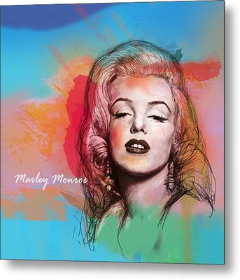 Marilyn Monroe Stylised Pop Art Drawing Sketch Poster Metal Print by Kim Wang