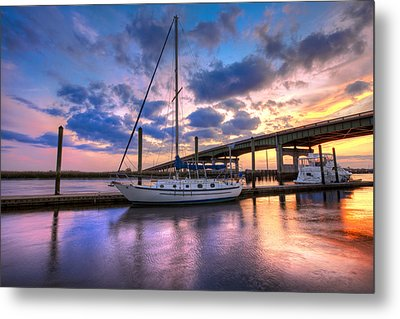 Marina At Sunset Metal Print by Debra and Dave Vanderlaan