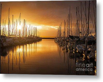Marina Golden Sunset Metal Print by Mike Reid