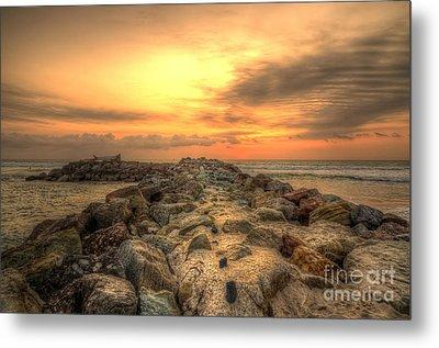 Marina Park Beach Sunset Metal Print by Eddie Yerkish
