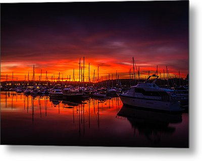 Marina Sunset Metal Print by Dawn OConnor
