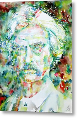 Mark Twain - Watercolor Portrait Metal Print by Fabrizio Cassetta