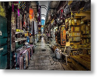 Market In The Old City Of Jerusalem Metal Print by David Morefield