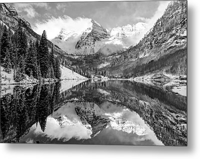 Maroon Bells Bw Covered In Snow - Aspen Colorado Metal Print by Gregory Ballos