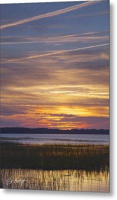 Marsh Sunset Metal Print by Phill Doherty