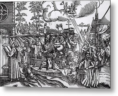 Martin Luther 1483 1546 Writing On The Church Door At Wittenberg In 1517 Metal Print by German School