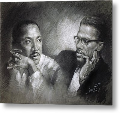 Martin Luther King Jr And Malcolm X Metal Print by Ylli Haruni