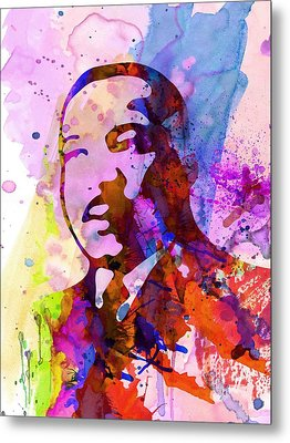 Martin Luther King Jr Watercolor Metal Print by Naxart Studio