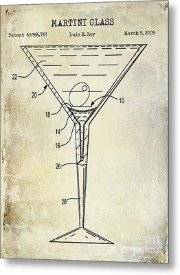 Martini Glass Patent Drawing Metal Print by Jon Neidert