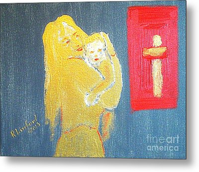 Mary And Baby Jesus 1 Metal Print by Richard W Linford