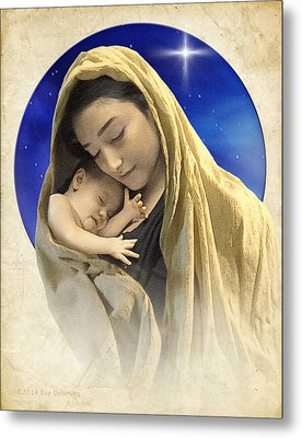 Mary And Jesus Blue 2 Metal Print by Ray Downing