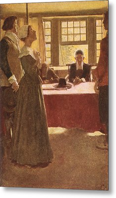Mary Dyer Brought Before Governor Endicott, Illustration From The Hanging Of Mary Dyer By Basil Metal Print by Howard Pyle