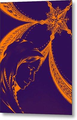 Mary-purple Metal Print by Andrea Carroll