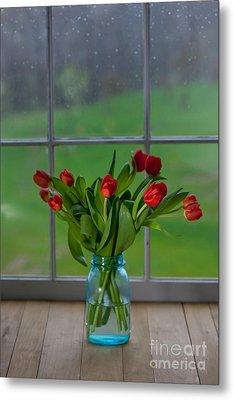 Mason Jar With Tulips Metal Print by Kay Pickens