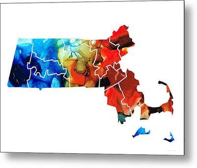 Massachusetts - Map Counties By Sharon Cummings Metal Print by Sharon Cummings