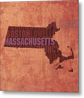 Massachusetts Word Art State Map On Canvas Metal Print by Design Turnpike