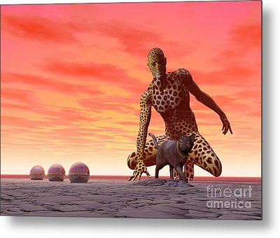 Master And Servant - Surrealism Metal Print by Sipo Liimatainen