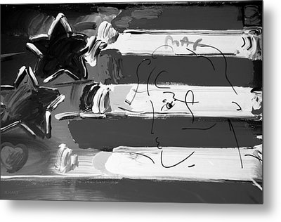 Max Stars And Stripes In Black And White Metal Print by Rob Hans