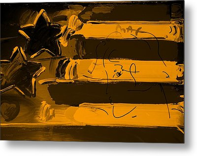 Max Stars And Stripes In Orange Metal Print by Rob Hans