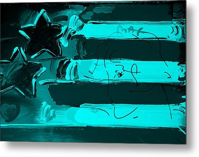 Max Stars And Stripes In Turquois Metal Print by Rob Hans