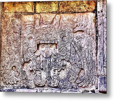 Mayan Hieroglyphic Carving Metal Print by Paul Williams