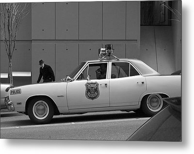 Mayberry Meets Seattle - Vintage Police Cruiser Metal Print by Jane Eleanor Nicholas