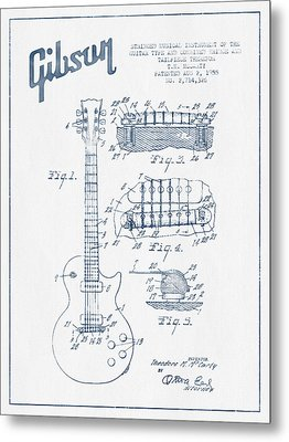 Mccarty Gibson Les Paul Guitar Patent Drawing From 1955 - Blue I Metal Print by Aged Pixel