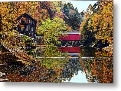 Mcconnell's Mill And Covered Bridge Metal Print by Marcia Colelli