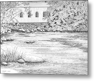 Mckenzie River Covered Bridge Metal Print by Lawrence Tripoli