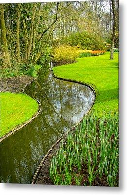 Meandering Stream Through Keukenhof Gardens Near Lisse Netherlands Metal Print by Robert Ford