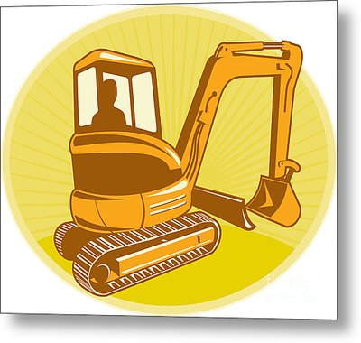 Mechanical Digger Excavator Retro Metal Print by Aloysius Patrimonio