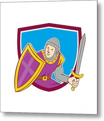 Medieval Knight Shield Sword Cartoon Metal Print by Aloysius Patrimonio