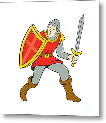 Medieval Knight Shield Sword Standing Cartoon Metal Print by Aloysius Patrimonio