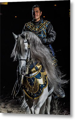 Medieval Times Knight And Horse Metal Print by Gene Sherrill
