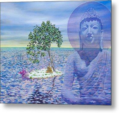 Meditation On Buddha Blue Metal Print by Dominique Amendola