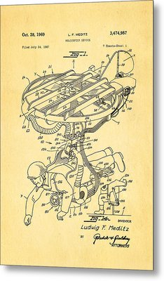 Meditz Helicopter Device Patent Art 1969 Metal Print by Ian Monk
