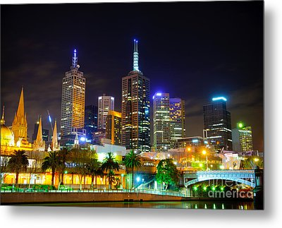 Melbourne City Skyline - Skyscapers And Lights Metal Print by David Hill