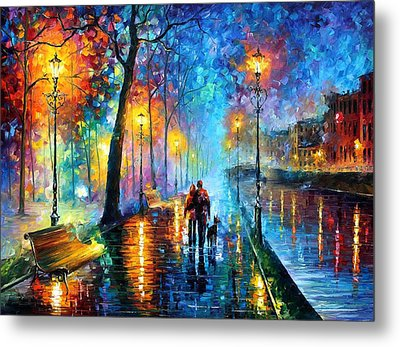 Melody Of The Night - Palette Knife Landscape Oil Painting On Canvas By Leonid Afremov Metal Print by Leonid Afremov
