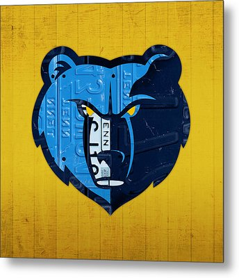 Memphis Grizzlies Basketball Team Retro Logo Vintage Recycled Tennessee License Plate Art Metal Print by Design Turnpike