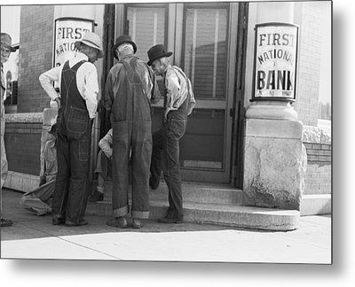 Men Talking On Bank Steps Metal Print by Russell Lee